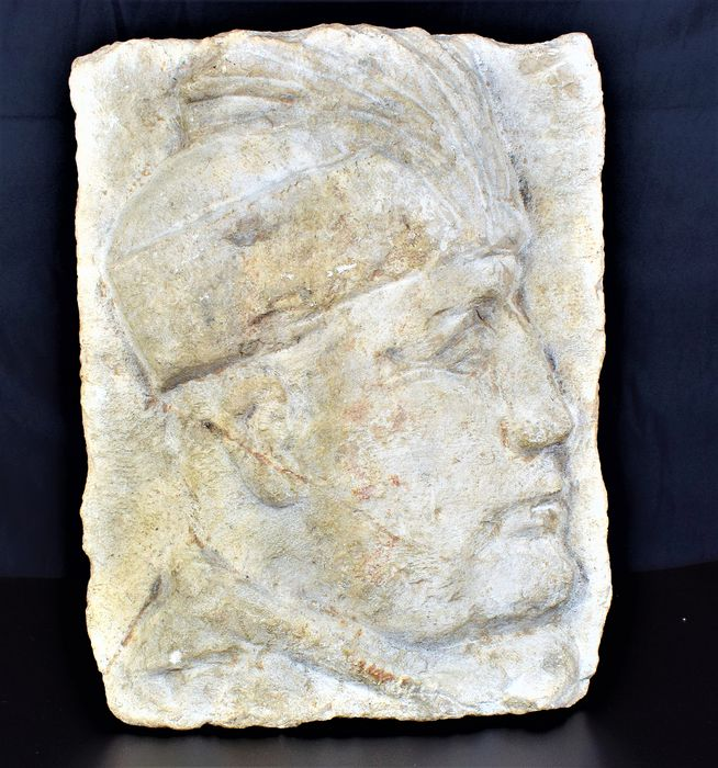 Italy - Superb and rare marble sculpture by Benito Mussolini - 1935