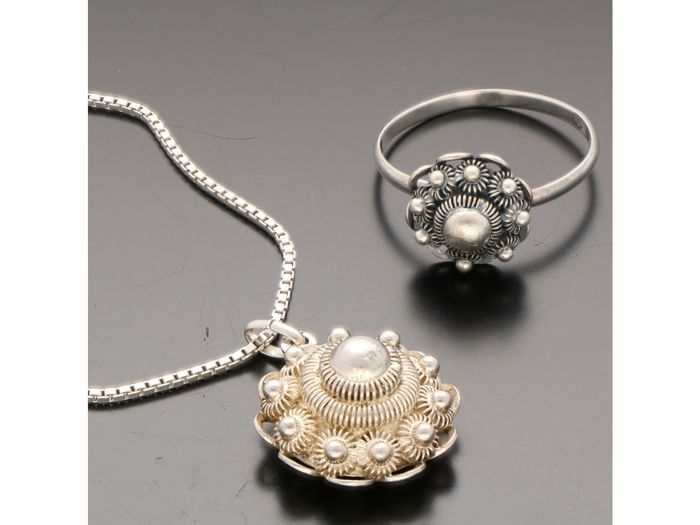 925 Silver - Necklace with pendant, Ring, Set