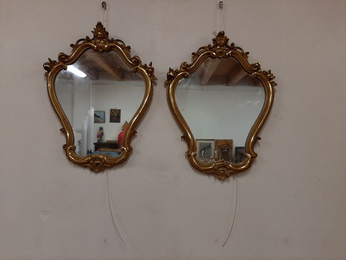 2 small mirrors - Golden wood - Early 20th century