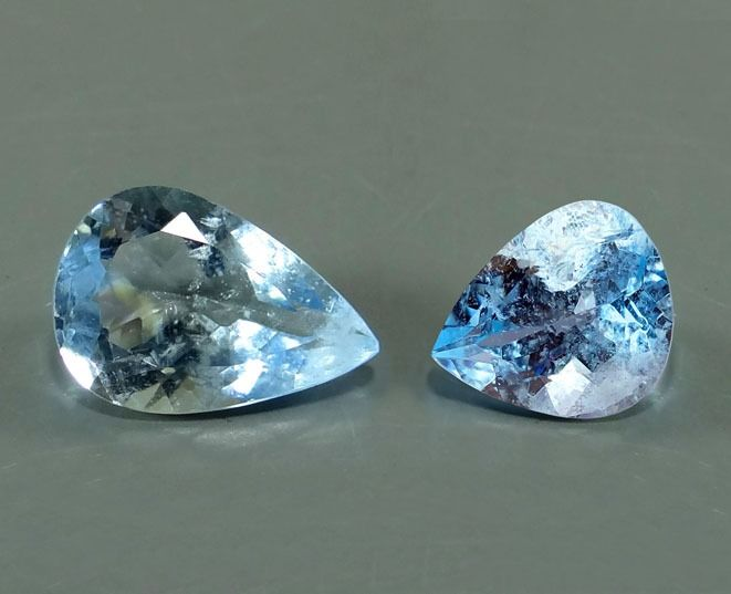 2 pcs Greenish Blue Aquamarine - 3.49 ct