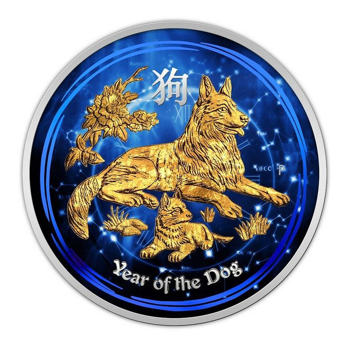 Australia - 50 Cents  2018- Year of the Dog- Gold Plated 1/2 oz - Silver