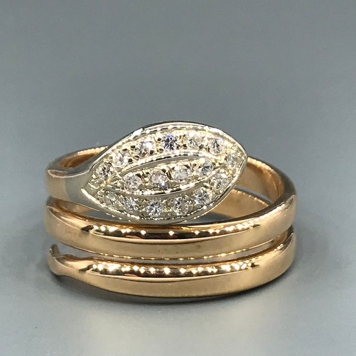 18 karaat Geel goud, Witgoud - Ring - 0.34 ct Diamant