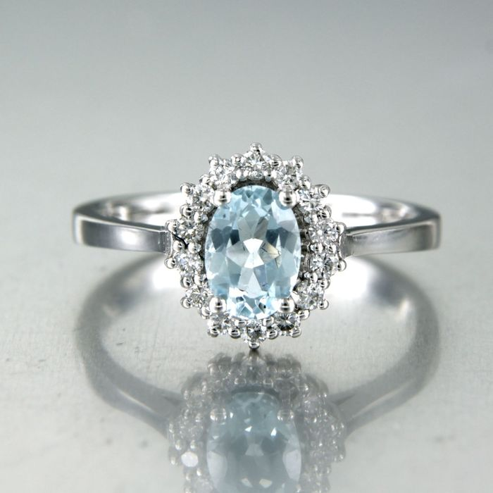 14 kt. White gold - Ring - 0.90 ct Topaz - Diamond