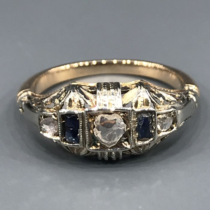 18 kt. White gold, Yellow gold - Ring - 0.25 ct Diamond - Sapphires