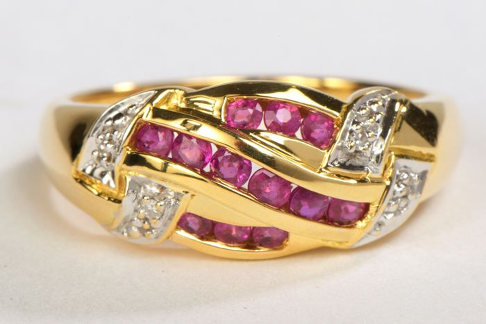 18 kts. Yellow gold - Ring Ruby - Diamond