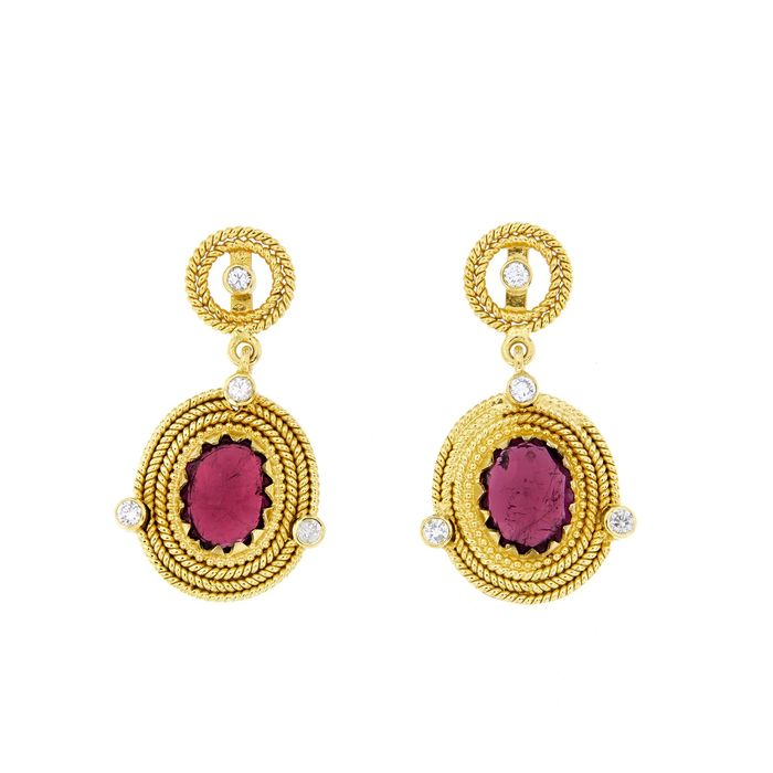 Made in Italy - 18 kt. Yellow gold - Earrings - 0.40 ct Diamond - Tourmalines