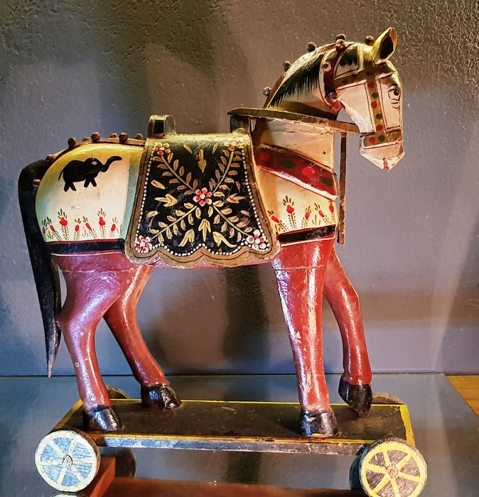 Horse (1) - Carved polychrome wood - Animal - Horse - India - 20th century