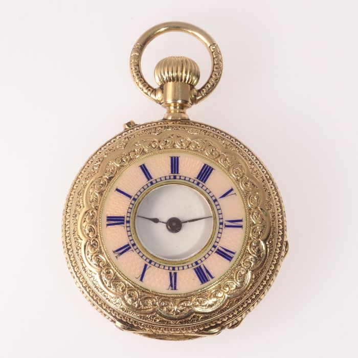 18 kt. Yellow gold - Ladies Pocket Watch with Pink and Blue Enamel - Skilfully Engraved - NO RESERVE PRICE