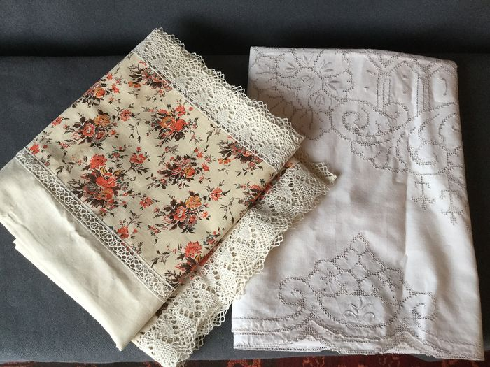 Two beautiful handcrafted tablecloth - embroidered and crocheted - cotton