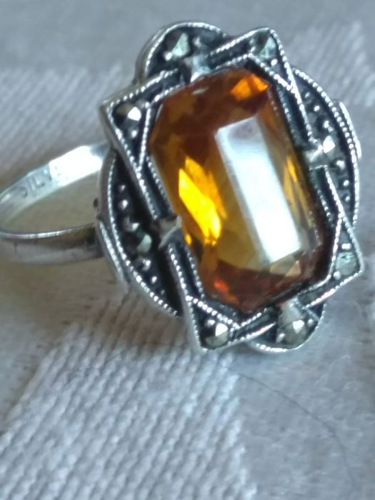 Silver - Ring Citrine - marcasite