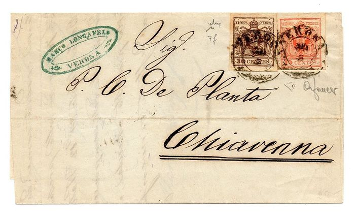 Lombardije-Venetië - Letter from Verona to Chiavenna - cents 15 + cents 30