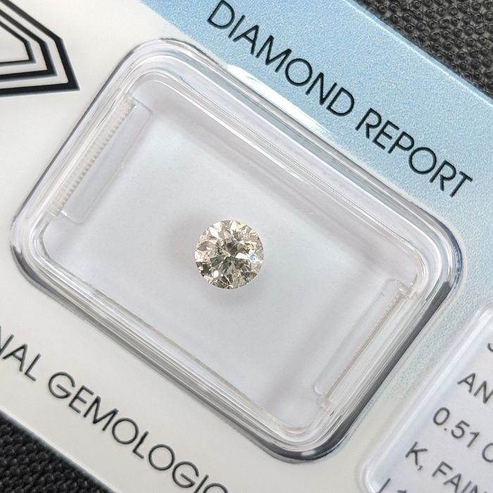 Diamante - 0.51 ct - Brillante - K - I1, IGI Antwerp - No Reserve Price