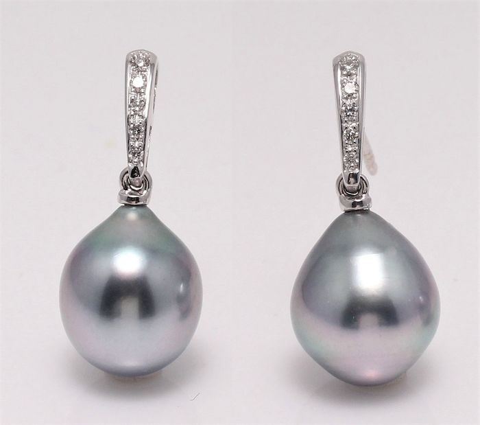 NO RESERVE PRICE - 14 kt. White Gold - 10x11mm Peacock Tahitian Pearls - Earrings - 0.08 ct