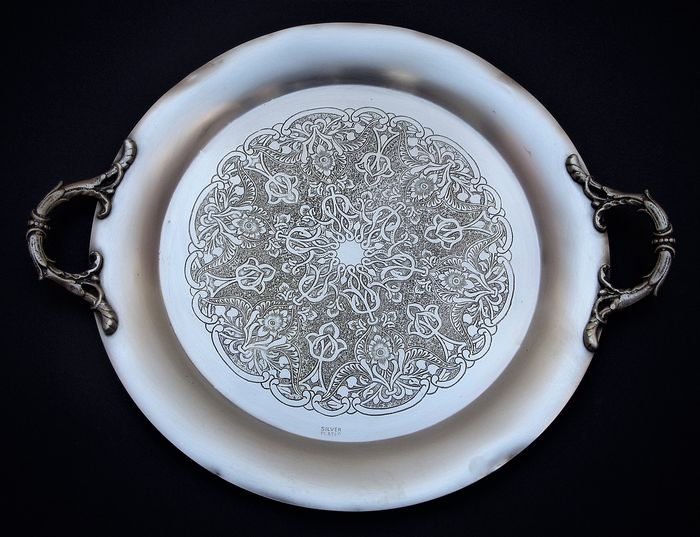Vintage large serving tray with handmade decoration, marked and numbered - Silver plated