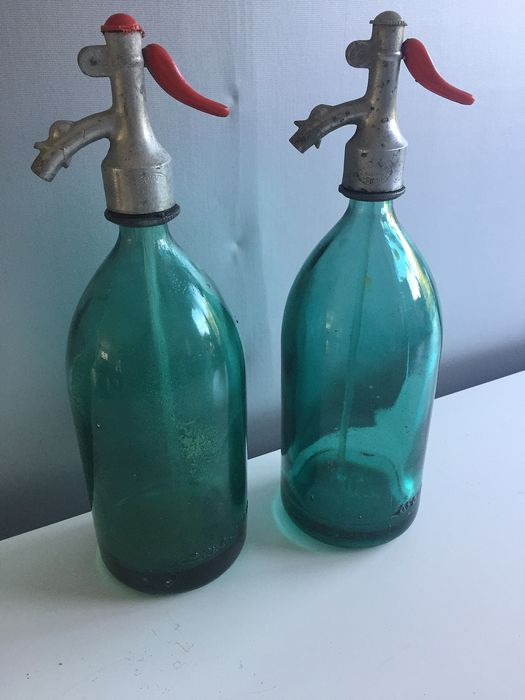 Old syphon, spray water bottles, green. (2) - Glass