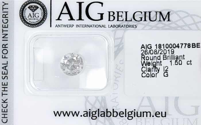 Diamond - 1.50 ct - Natural White - G colour - I2  *NO RESERVE*