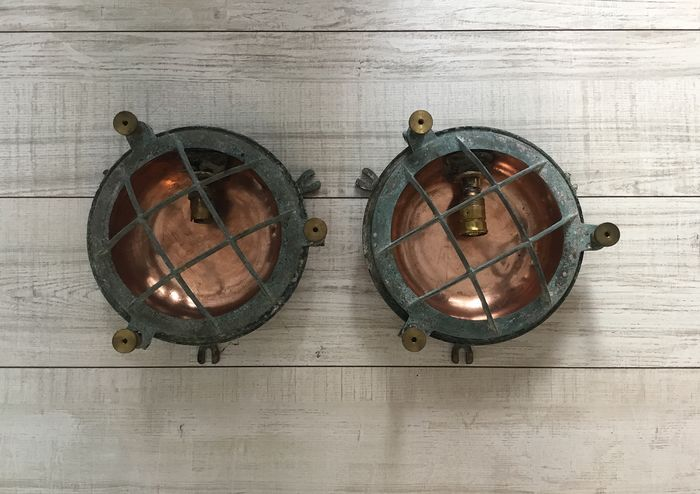 Passageway light (2) - Bronze, Copper - Early 20th century