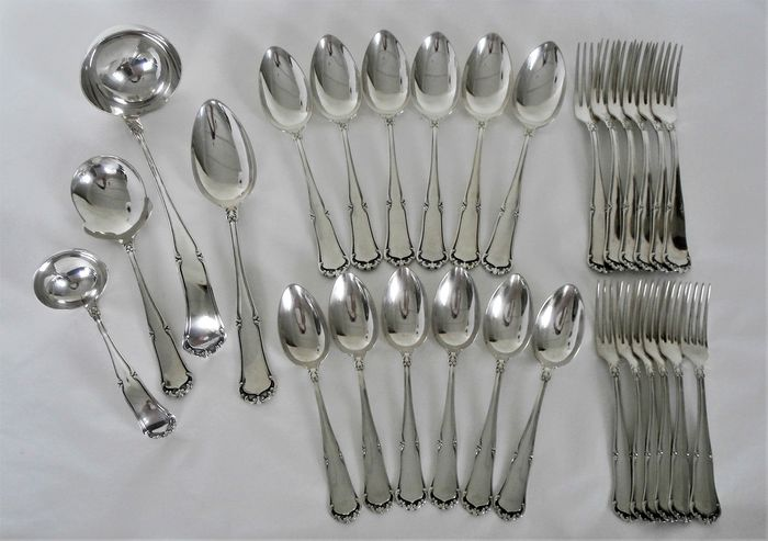 Wellner 90 - Art Nouveau silver-plated 6-person cutlery + serving cutlery / 28-piece