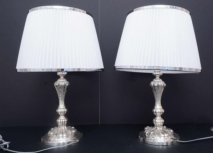 Pair of lamps (2) - .800 silver - Koch&Bergfeld - Germany - ca.1900