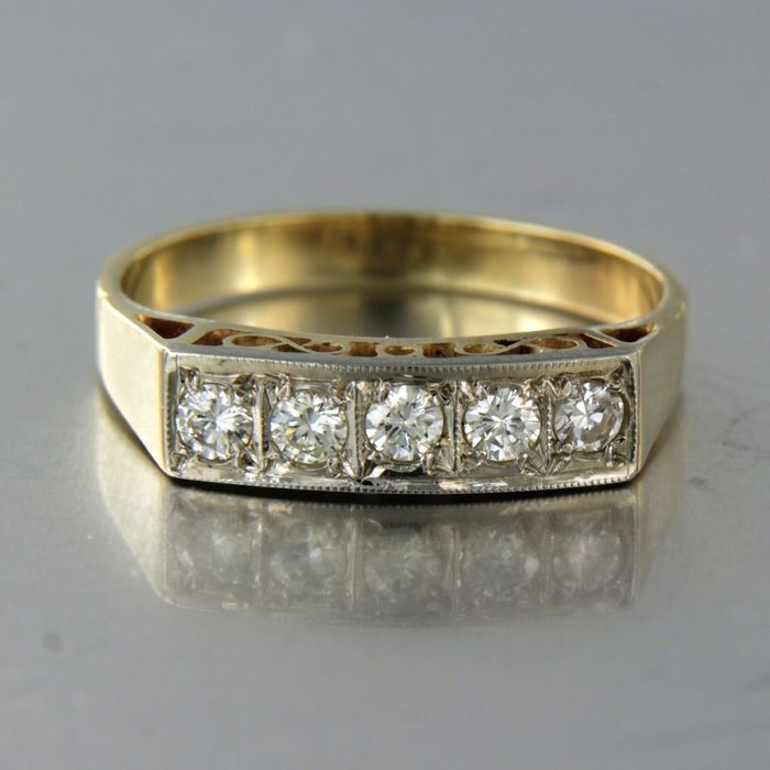 14 kt. White gold, Yellow gold - Ring - 0.40 ct Diamond