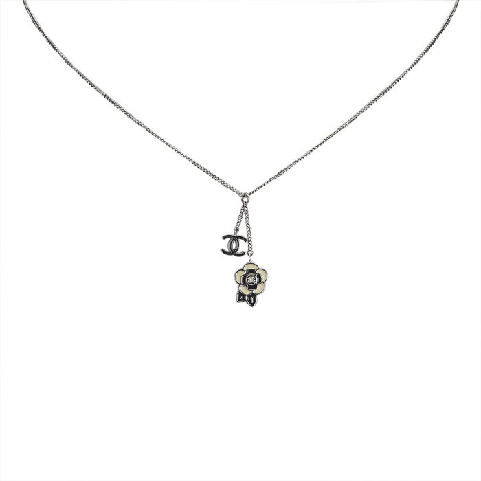 Chanel - Rhinestone Studded CC Necklace Costume Necklace