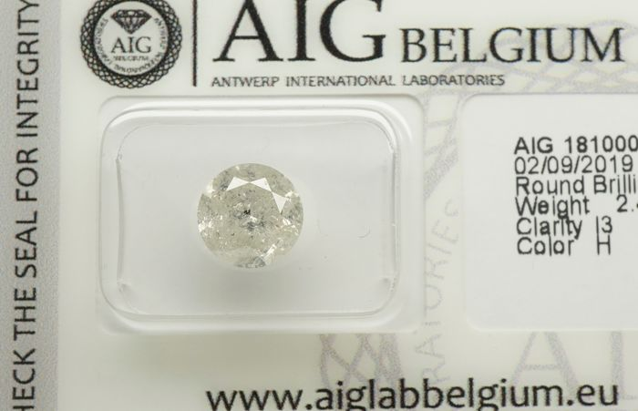 1 pcs Diamond - 2.48 ct - Round Brilliant - H - I3  -No reserve