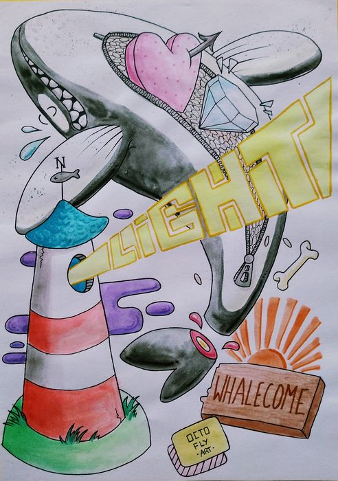 Octofly Art - Whalecome