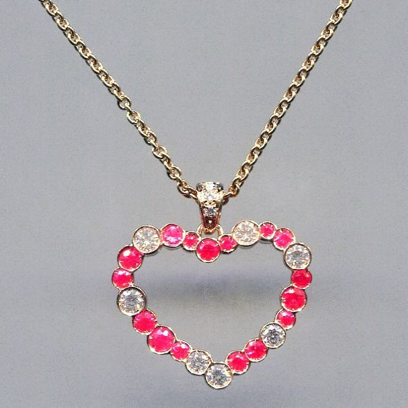 Leo Pizzo - 18 kt. Pink gold - Necklace with pendant - 0.90 ct Sapphire - Diamond