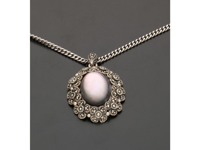 925 Silver - Mother-of-Pearl Necklace - Marcasite