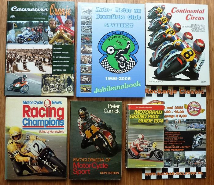 Books - Motor wegrace, cross etc. 6x - 1974-2008