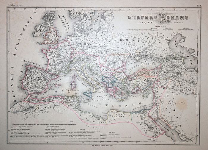 Europe, Roman Empire; Vallardi - L'Impero Romano secondo E. Kiepert - 1868