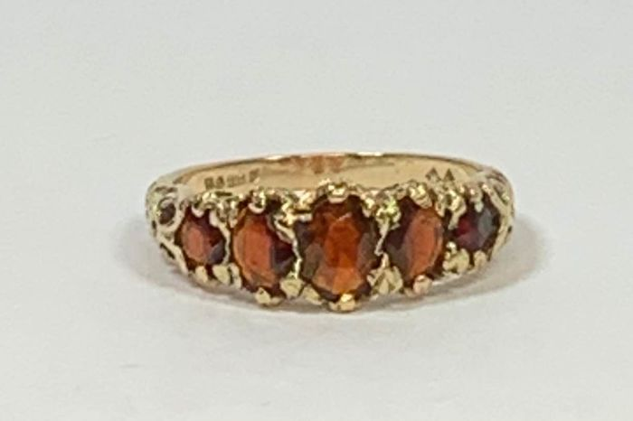 A.K - .375 Pink gold - Early 20th century Ring Garnet