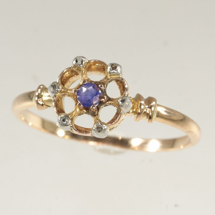 18 kt. Pink gold - Ring, Antique Victorian Style - Era: ca. 1880 -  Garnet - Diamonds, NO RESERVE PRICE