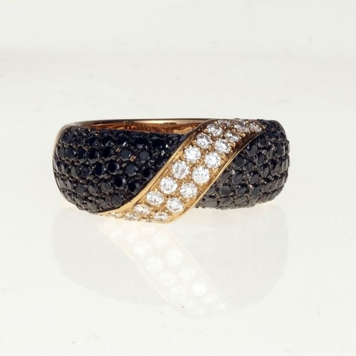 Leo Pizzo - 18 kt. Pink gold - Ring - 1.16 ct Black diamonds - Diamonds