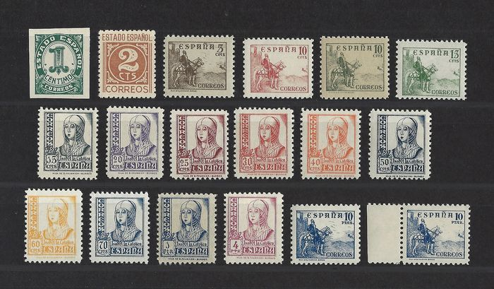 Spanje 1937/1940 - Complete set, numerals, Cid and Isabella - Edifil 814/831