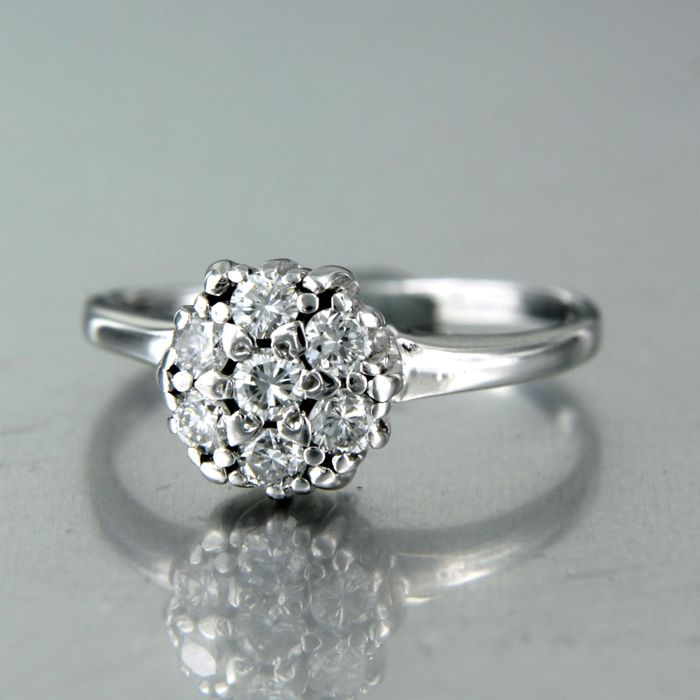 14 kt. White gold - Ring - 0.40 ct Diamond