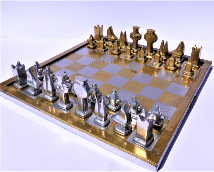 David Marshall ( 6,5 kg / 34 cm ) - Chess set - Aluminium, Bronze