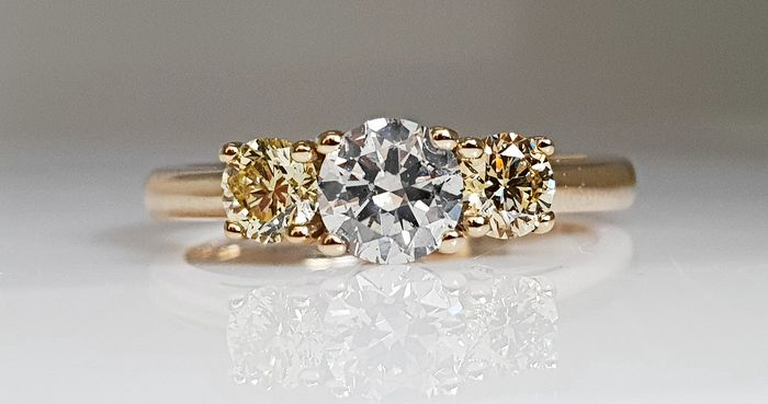 14 kt. Yellow gold - Ring - 0.92 ct Diamond - No Reserve SI1