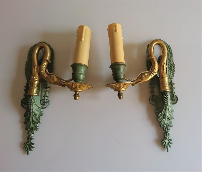 Wall light, Stylized acanthus and gooseneck decor (2) - Empire Style