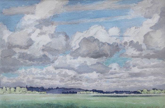 Philip Grégory Needell (1886-1974) - Paysage, aquarelle double face