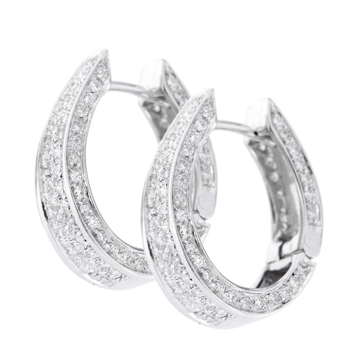 Made in Italy - 18 kt. White gold - Earrings - 2.00 ct Diamond