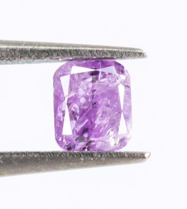 Diamant - 0.21 ct - Natural Fancy INTENSE Pinkish Purple - I3  *NO RESERVE*