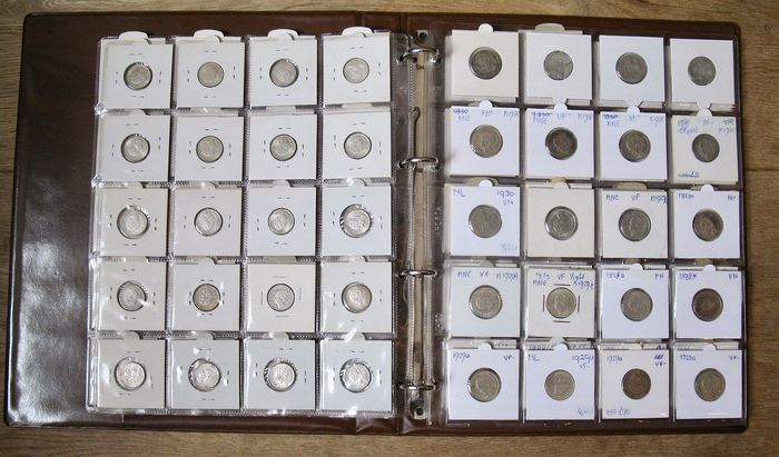 The Netherlands - 10 Cent, 25 Cent en ½ Gulden 1921/1944 Wilhelmina  - 120 stuks in album - Silver