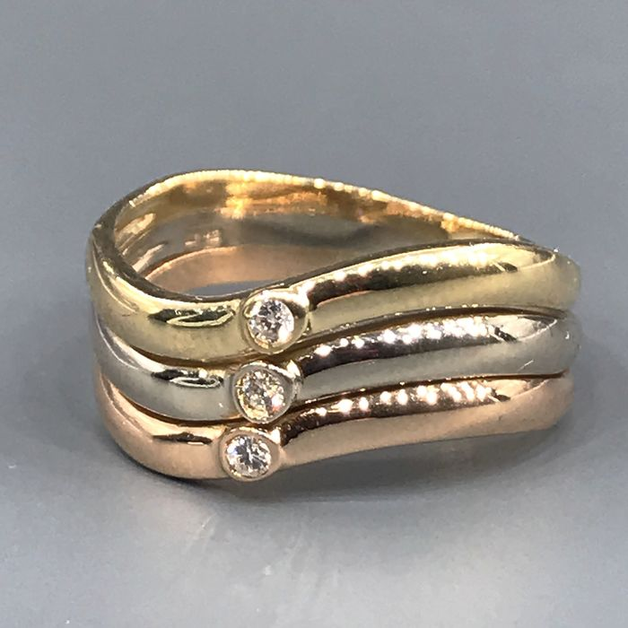 18 kt. Pink gold, White gold, Yellow gold - Ring - 0.06 ct Diamond