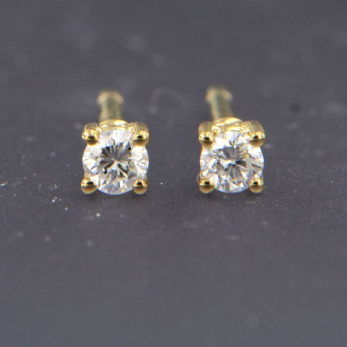 18 kt. Yellow gold - Earrings - 0.08 ct Diamond