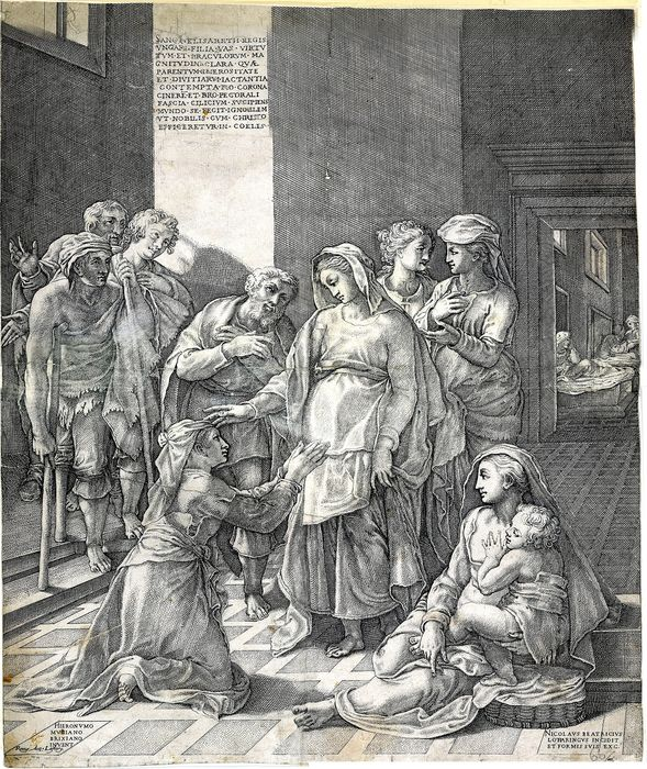 Nicolas Beatrizet, after Girolamo Muziano  - St Elizabeth of Hungary visiting the sick