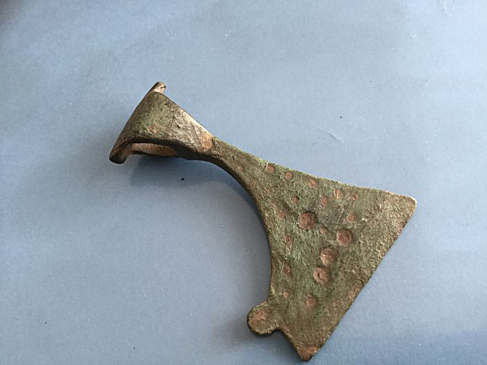 Medieval Bronze Early Viking battle ax amulet - 50 x 30mm