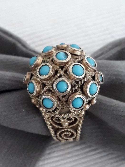 925 Verguld, Zilver - Ring, Poison / Opium Ring Turquoise