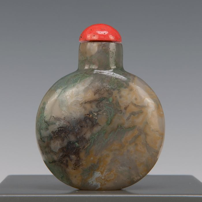 tabatière (1) - agate mousse - Chine - vers 1900