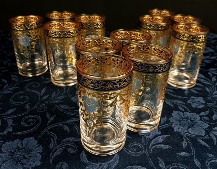 Henriette - Set of 12 water glasses painted with enamel and gold (12) - Crystal - enamel - gold